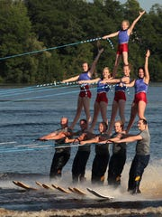 The Water Walkers Water Ski Show Team performs in 2013