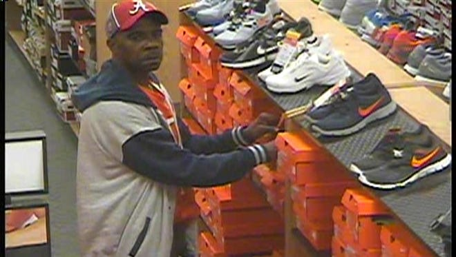 Suspect pictured is wanted for allegedly stealing Nike merchandise.
