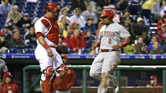 Marlon Byrd left Tuesday's loss to the Phillies with