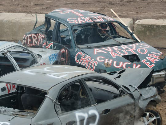 A demolition derby is a loud fun at the fair.