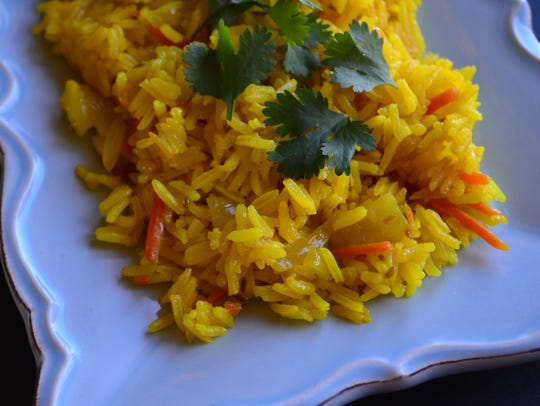 This lovely turmeric rice pilaf is fluffy, savory and