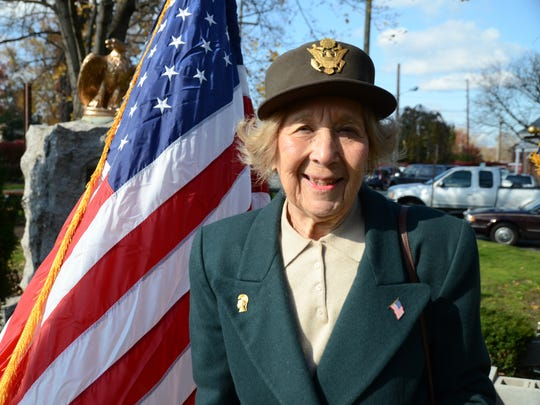 In 2011, Beverly Rosenstein at the Veterans Day Observance in Hillsdale.