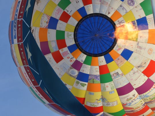 A view from inside the Dreamship balloon during the Battle Creek Field of Flight Air Show and Balloon Festival.