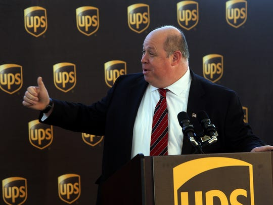 Parsippany Mayor Jamie Barberio speaks before the groundbreaking for the new UPS Technology complex, a 200,000 square foot building sitting on more than 20 acres of land off Cherry Hill Road. March 29, 2016. Parsippany, N.J.