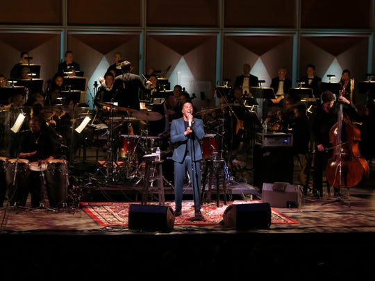 Leslie Odom Jr. performed with 60 members of the Milwaukee Symphony Orchestra and his five-piece band at the Marcus Center for the Performing Arts' Uihlein Hall Friday.