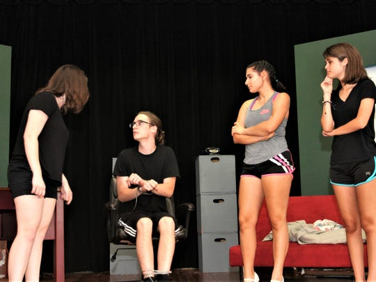 """Samantha Stepp is playing Judy; Becky Horgan is playing Violet; Katie Kirk is Doralee; Luke Gamertsfelder is Franklin Hart Jr. in the youth theater's production of """"9 to 5."""""""