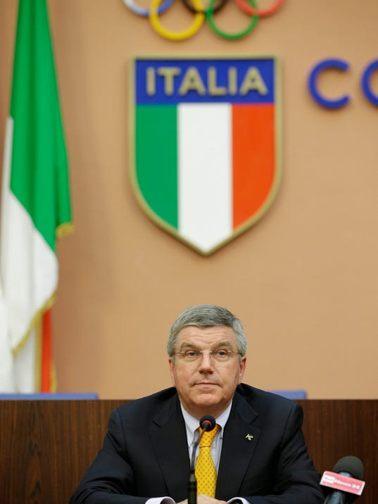 """International Olympic Committee President Thomas Bach attends a press conference in Rome, Monday, June 9, 2014.  IOC President Thomas Bach believes Rome would be a strong contender to host the 2024 Summer Olympics. Speaking at a conference celebrating the centenary of the Italian Olympic Committee, Bach says """"it would be a very strong bid which many people would like. Not only in the Olympic family but inside the whole movement."""" Rome had to pull out of the bidding for the 2020 Games when the government refused to provide financial backing. (AP Photo/Gregorio Borgia)"""