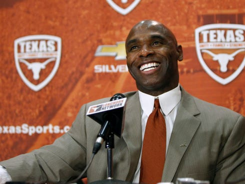 AUSTIN, TX - JANUARY 6: The University of Texas Longhorns new head football coach Charlie Strong from Louisvillespeaks after being introduced during a press conference January 6, 2014 at Darrell K. Royal-Texas Memorial Stadium in Austin, Texas.  (Pho