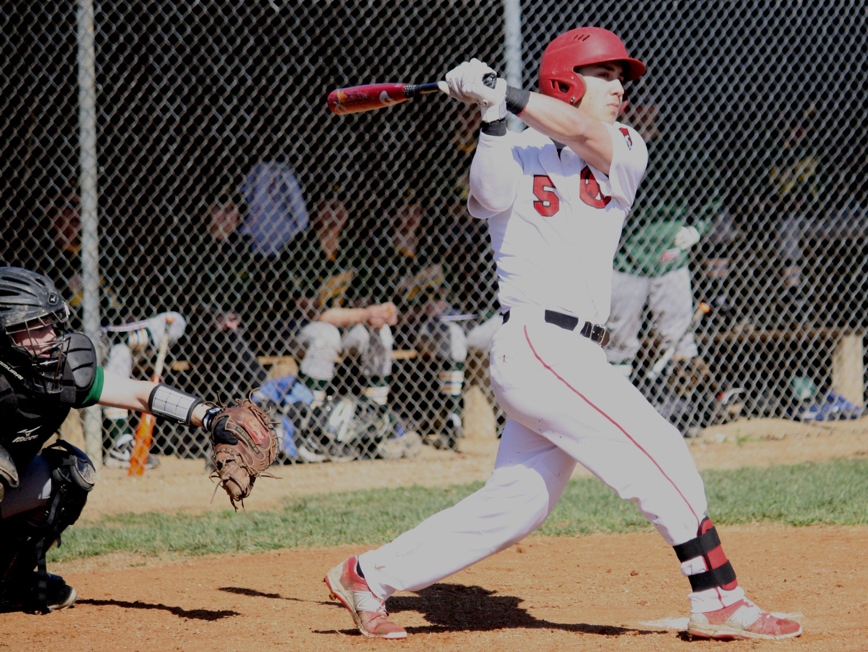 Colerain senior Jake Murray, No. 5, ripped a foul ball down the right side against Sycamore on April 11, 2015.