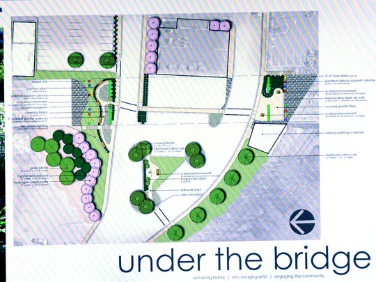 An artist rendering of the Under the Bridge project is shown to city council members by Mary Haley Thompson, Anderson project manager, during the meeting at City Hall in Anderson on Monday.