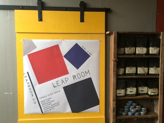 The new door to the Leap Room inside Kavarna Cafe.