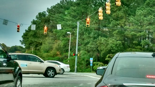 "The light at the intersection of I-385 South and Haywood Road is one place where a new ""No turn on red"" sign was recently introduced."