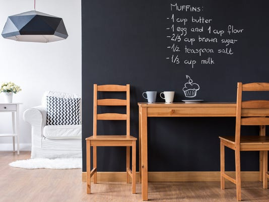 Small dining room with blackboard wall