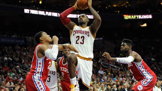 Cleveland Cavaliers' LeBron James (23) is seen during an NBA basketball game against the Philadlephia 76ers, Monday, Nov 2, 2015, in Philadelphia. (AP Photo/Michael Perez) ORG XMIT: OTKMP111