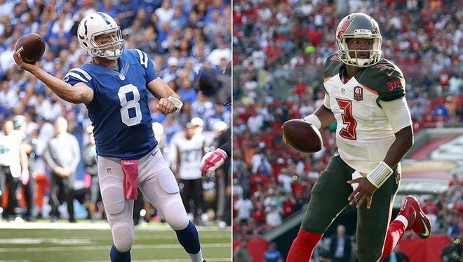 Matt Hasselbeck (left) is the oldest quarterback in the NFL (40) and Jameis Winston is the youngest (21).