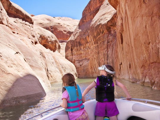 Kids taking in the beauty of the Colorado River at