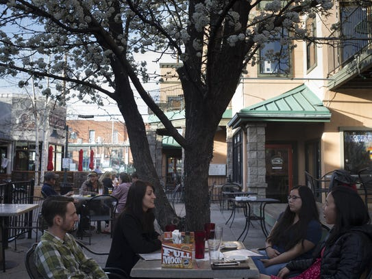 The Flagstaff Brewing Company patio, April 10, 2018,