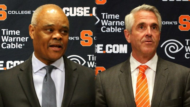 Herman Frazier, left, and Dan French, will guide SU athletics during search for new athletic director.