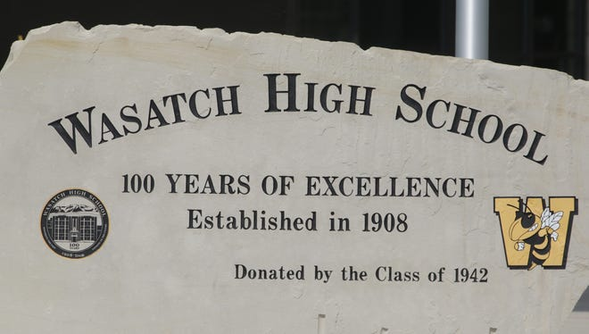 The Wasatch High School sign is shown Thursday, May 29, 2014, in Heber City, in Utah.