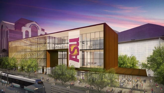 A rendering of a building on the proposed Arizona State University campus in downtown Mesa.