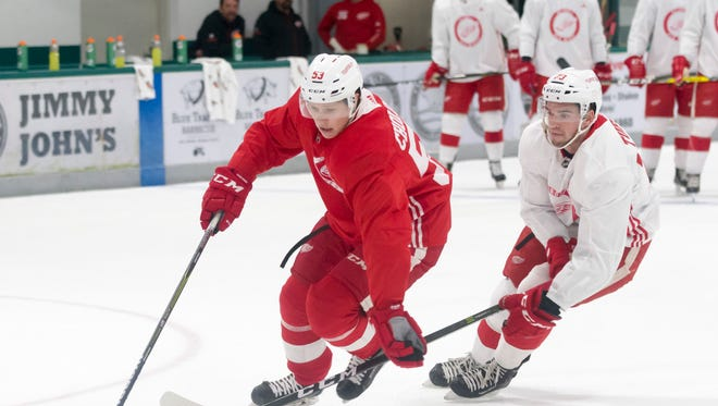 Defenseman Dennis Cholowski tries to keep the puck away from center Dominic Turgeon during practice.