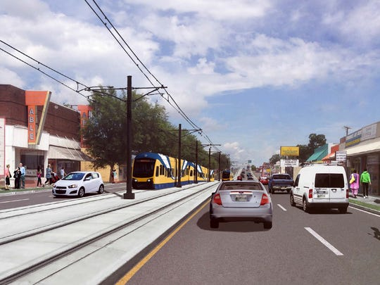 A rendering of light rail on Nolensville Pike.