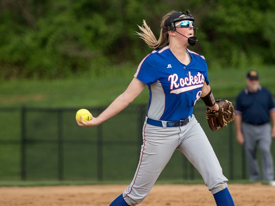 Spring Grove pitcher Hailey Kessinger pitches to a Dallastown batter, Thursday, April 27, 2017. The Rockets beat the Wildcats, 3-2.