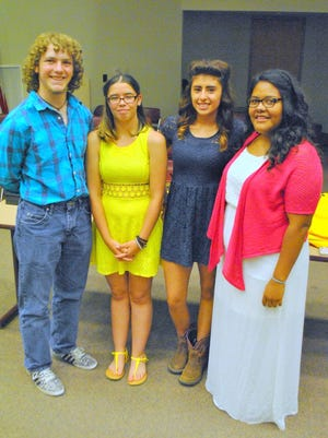 """From left, are the Health Careers Academy (HCA) graduates Laredo Schwartz, Alyssa Hernandez, Lysandra Villegas, and Karisma Rodriguez were awarded scholarships to Western New Mexico University for their commitment every day """"to hit the ground running."""""""