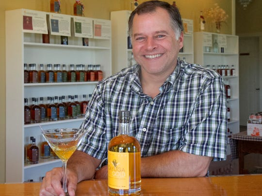 Joe Myer produced Cayuga Gold, a gin aged for 10 months in wheat whiskey barrels.