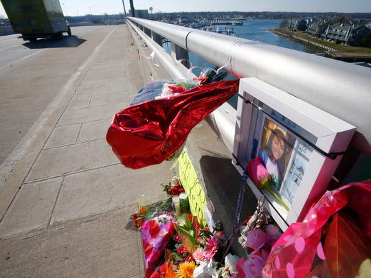 The memorial to Sarah Stern continues to grow on the southbound side of the Route 35 bridge over the Shark River in Neptune City Monday, February 6, 2017.