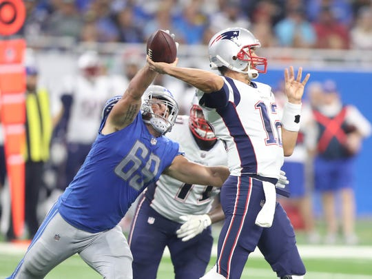 Lions DE Anthony Zettel rushes Patriots QB Tom Brady in the first half Aug. 25, 2017 at Ford Field in Detroit.