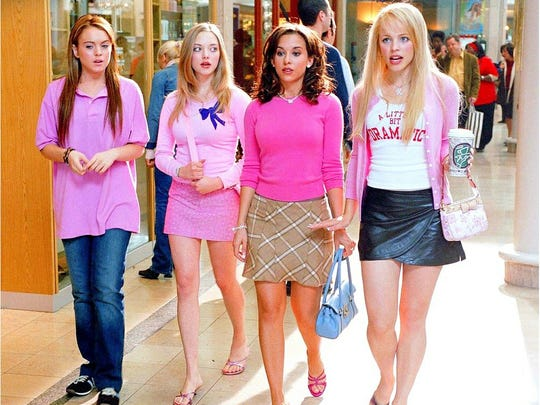 "From left: Lindsay Lohan, Amanda Seyfried, Lacey Chabert and Rachel McAdams in ""Mean Girls."""