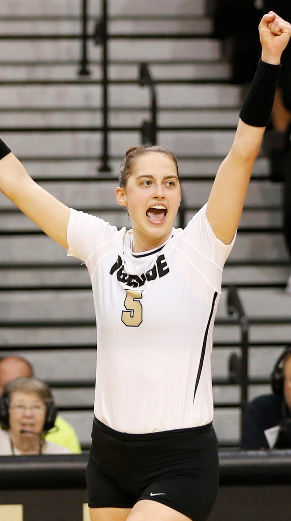 Ashley Evans reacts to a Purdue point scored against