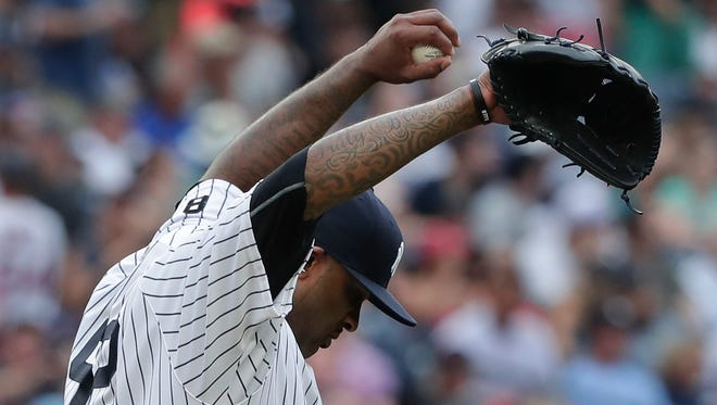 New York Yankees starting pitcher CC Sabathia reacts after giving up a three-run home run to Boston Red Sox's Sandy Leon during the sixth inning of a baseball game, Saturday, July 16, 2016, in New York.