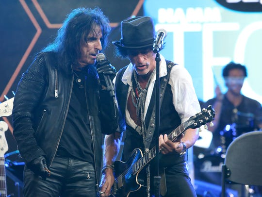 Alice Cooper and Joe Perry perform onstage at the TEC