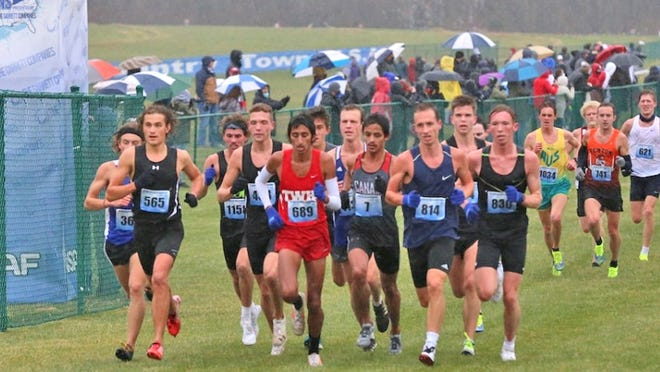 Coldwater alum Shuaib Aljabaly (center, wearing bib number 7) ran at the prestigious XC Town Meet of Champions, placing 6th in the men's open division.