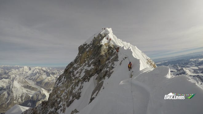 Neal Kushwaha captures to road to the summit of Mount Everest from the middle of the North East Ridge during his descent.