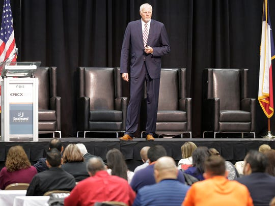 Former Utah Jazz center Mark Eaton was the featured speaker at the 2015 El Paso Business Conference and Expo held at the El Paso Convention Center Thursday morning.