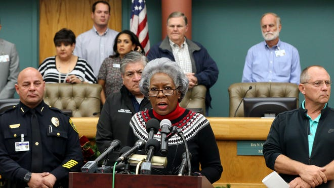 City Manager Margie Rose addresses the media during a news conference Friday, Dec. 16, 2016, at City Hall in Corpus Christi. City officials confirmed Dec. 15 that one chemical contaminated the city's water supply.