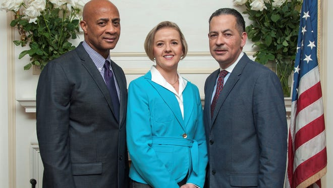 The Putting Our Kids First school board slate. From left: Lance Powell, Frances Cogelja and Carlos A Velez