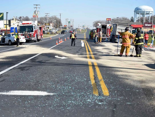 A two vehicle collision at the intersection of Route