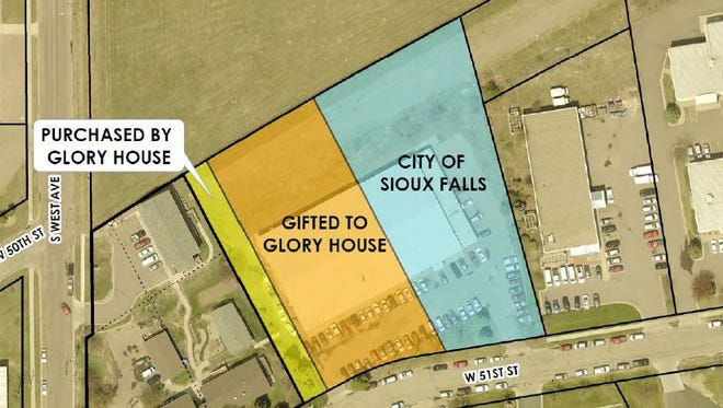 This aerial map depicts how the city's ice and rec center land would be divided. The two west-most portions would become property of Glory House while the eastern parcel, shown in blue, would be sold at auction.