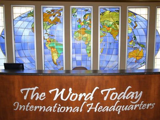 A stained-glass world is behind the main entrance to The Word Today recording studio at Our Shepherd Lutheran Church in Greendale.