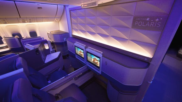 A shot of the Polaris business-class cabin from United Airlines' Boeing 777-300ER.