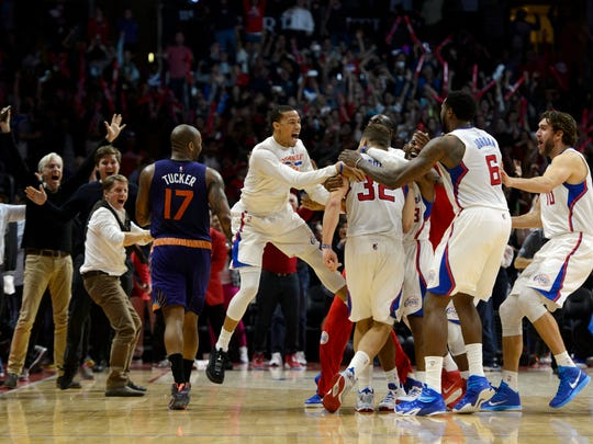 Los Angeles Clippers forward Blake Griffin (32) celebrates
