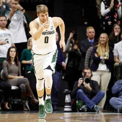 Michigan State sophomore Kyle Ahrens celebrates after