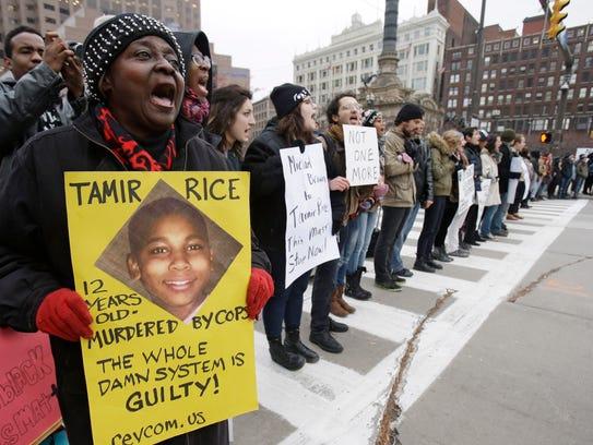On Nov. 25, 2014, demonstrators protest the shooting