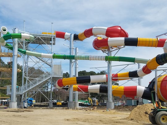 A Maryland flag-inspired water slide is under construction at Frontier Town.