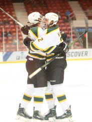 Alfred Johansson celebrates a Green Knights' goal with