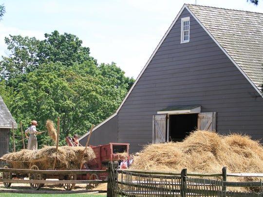 Interpreters at Longstreet Farm in Holmdel Park demonstrate the threshing of wheat in July 2013.
